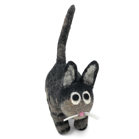 Fair Trade Organic Wool Felt Cat Figurine, Handmade in Nepal, Black/Gray