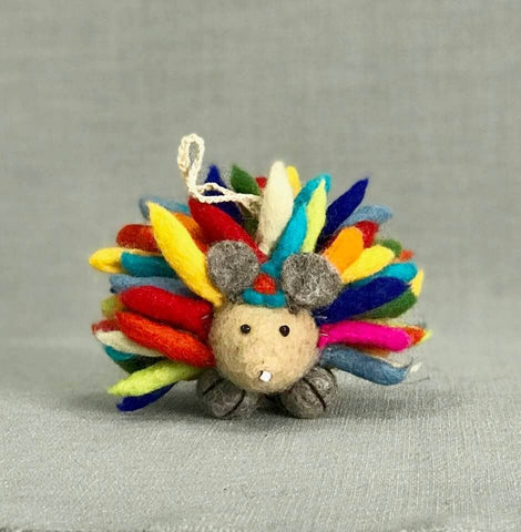 Fair Trade Organic Wool Felt Hedgehog Ornament, Handmade in Nepal, Multicolor