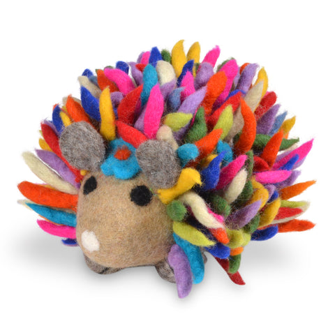 Fair Trade Organic Wool Felt Hedgehog Figurine, Handmade in Nepal, Multicolor