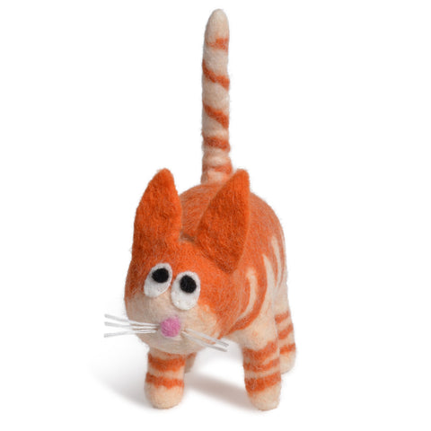 Fair Trade Organic Wool Felt Cat Figurine, Handmade in Nepal, Orange Tabby