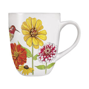 Mary Lake-Thompson Zinnias with Hummingbird 16-ounce Stoneware Mug