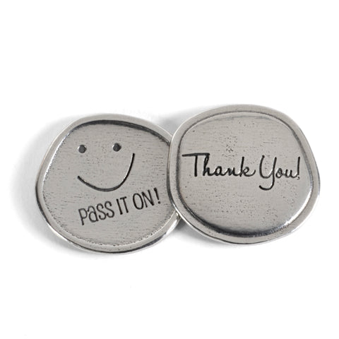 Thank You, Smiley Face, Pass It On, Pewter Sentiment Coins, Set of 8