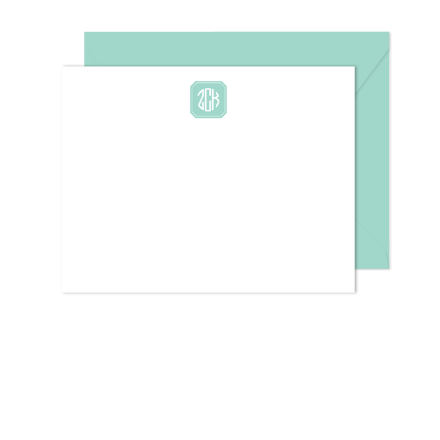 Filled Octagon Monogram Stationery