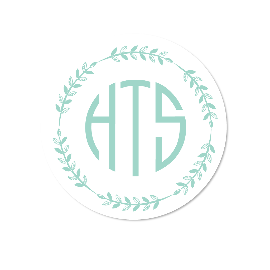 Wreath Monogram Stickers