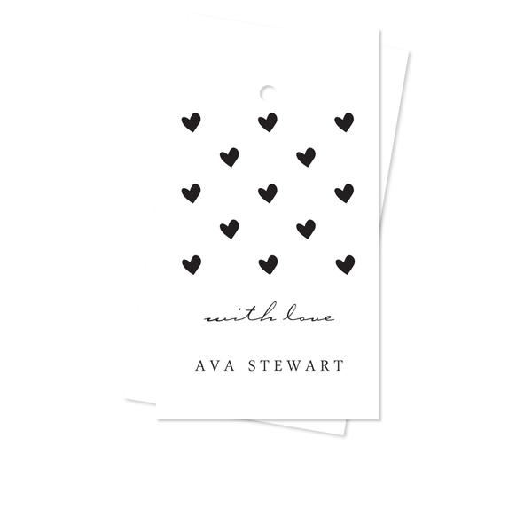 B & W HEARTS GIFT TAGS