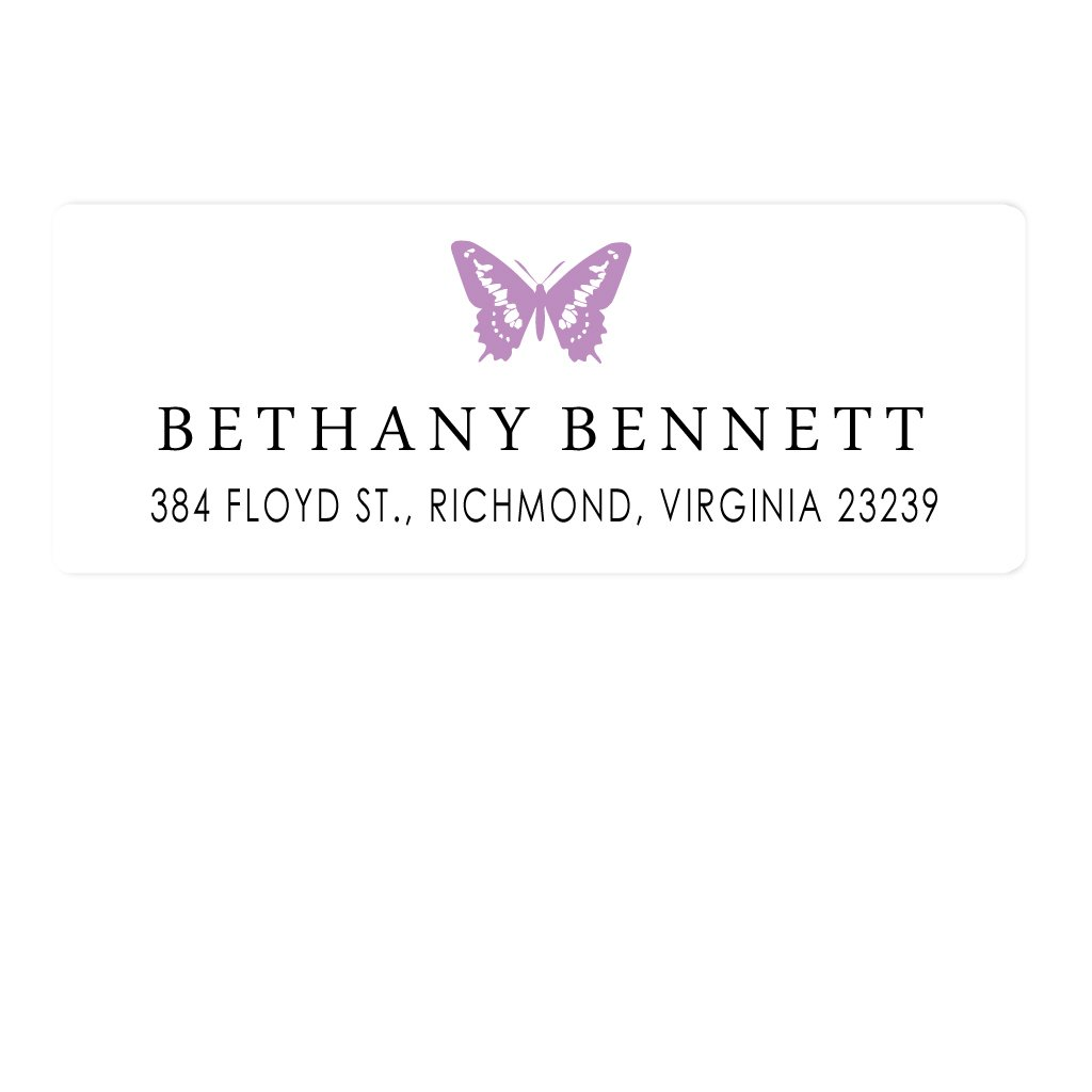 personalized kids butterfly address labels preppy prodigy