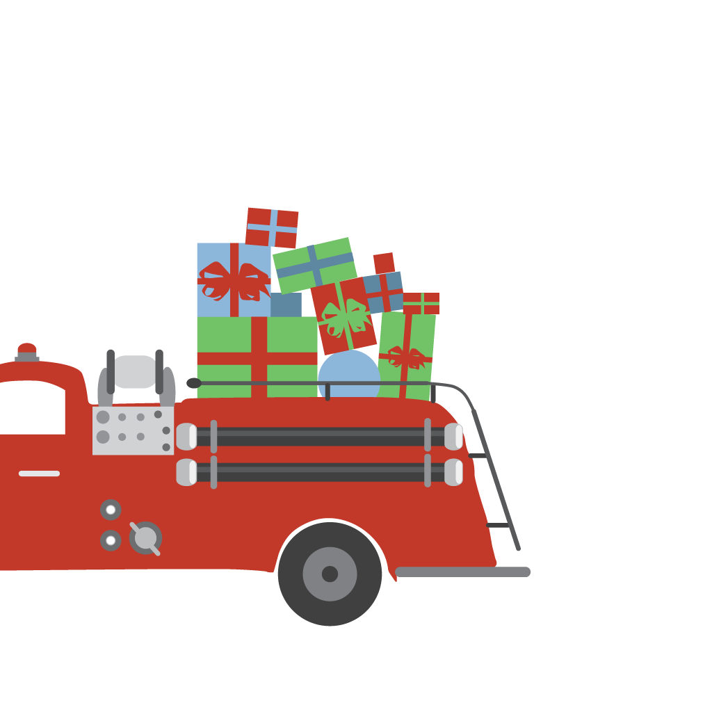 HOLIDAYS FIRE TRUCK GIFT ENCLOSURE
