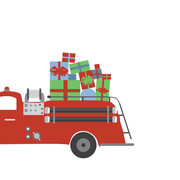 Holiday Fire Truck Gift Enclosures