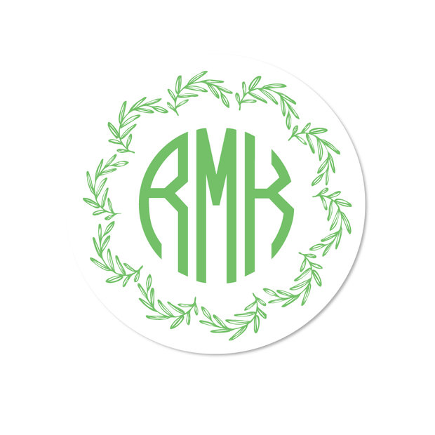 Olive Wreath Monogram Stickers