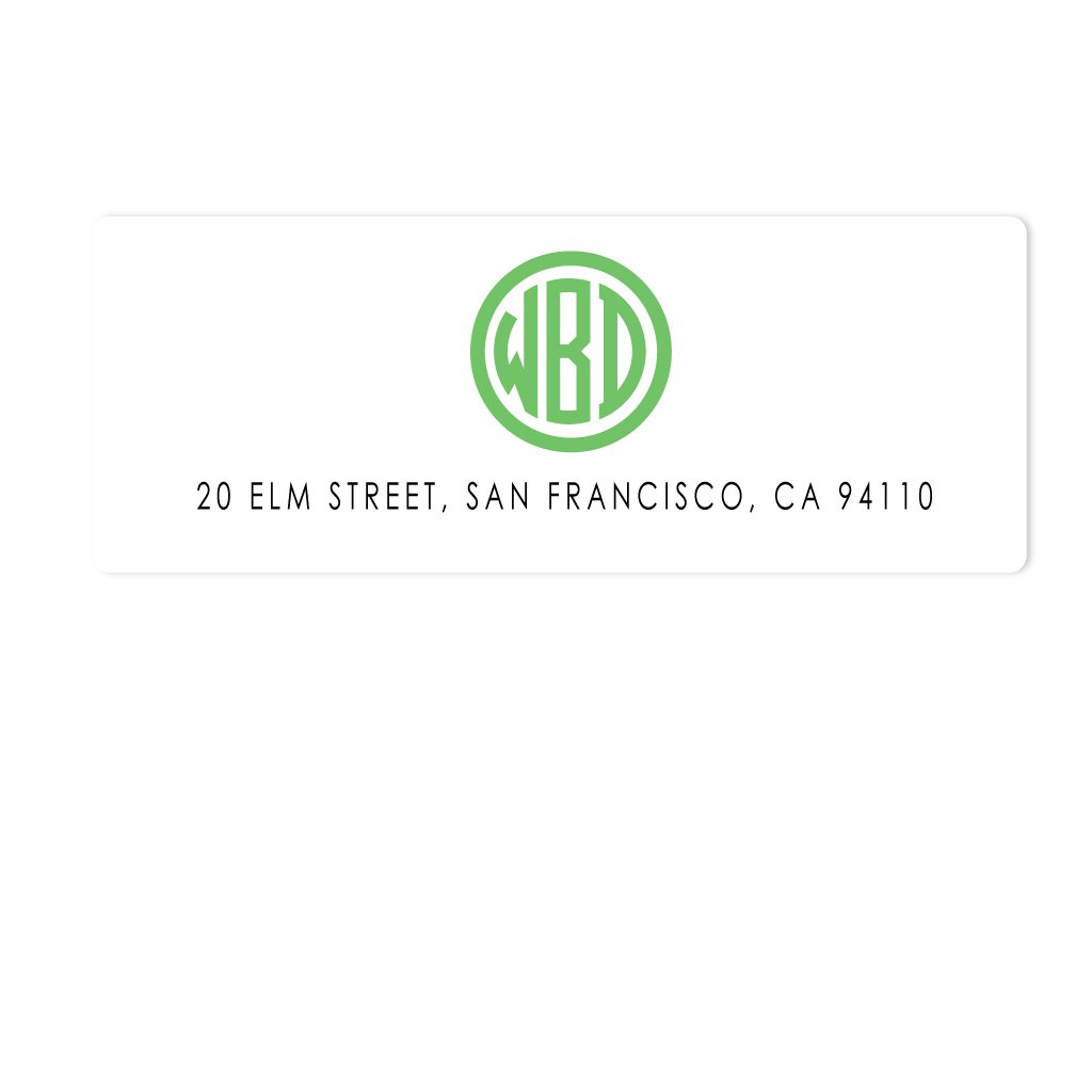 CIRCLE BLOCK MONOGRAM ADDRESS LABELS
