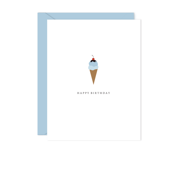 BLUE ICE CREAM CONE BIRTHDAY CARD