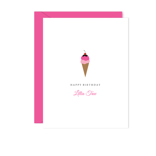 PINK ICE CREAM CONE BIRTHDAY CARD