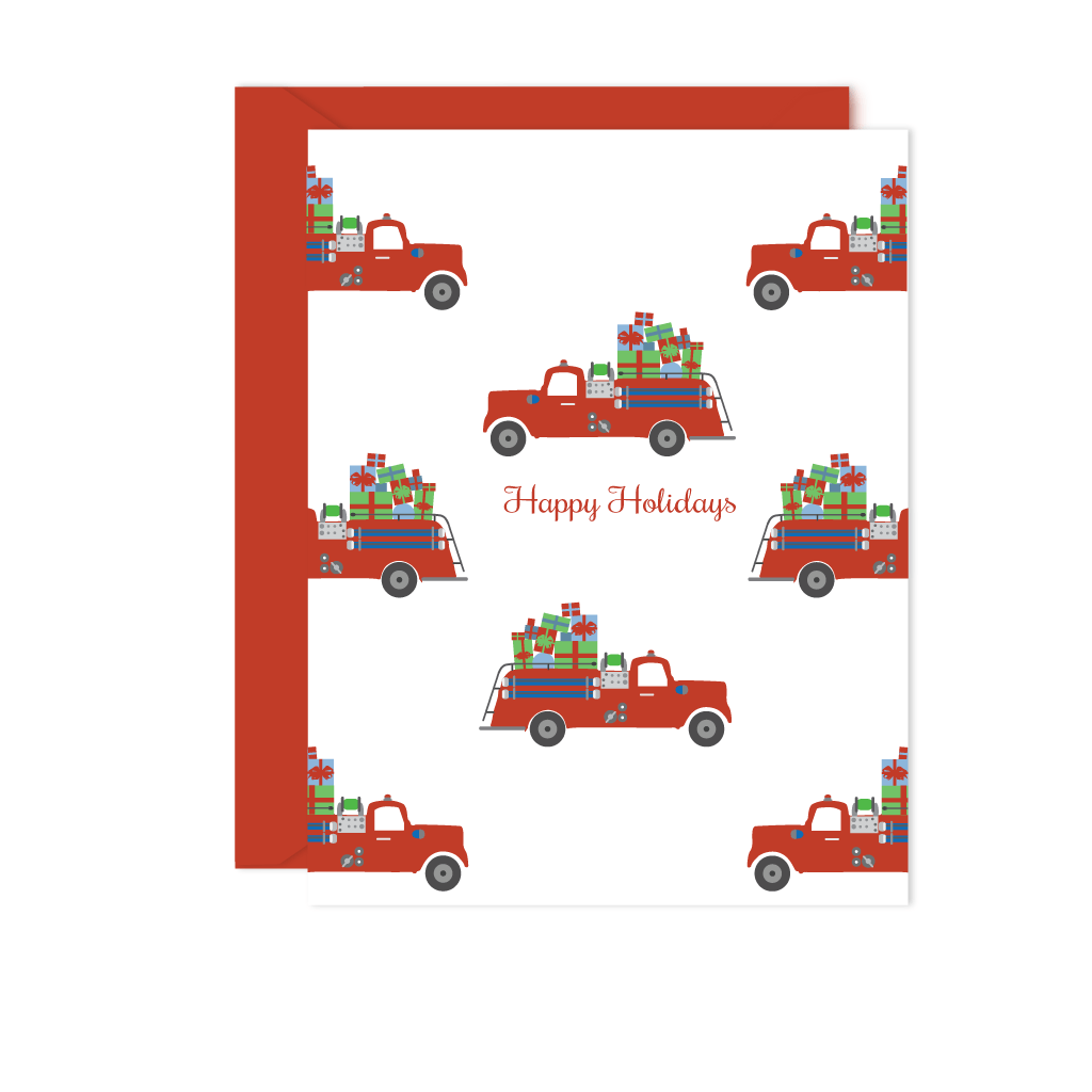 HOLIDAYS FIRE TRUCK GREETING CARD SET