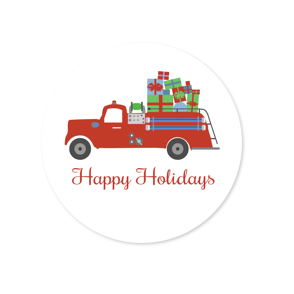 HOLIDAYS FIRE TRUCK STICKERS