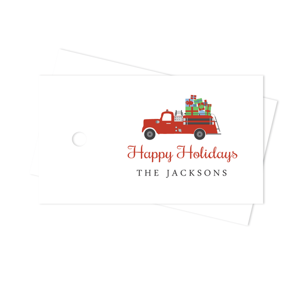 HOLIDAYS FIRE TRUCK GIFT TAGS