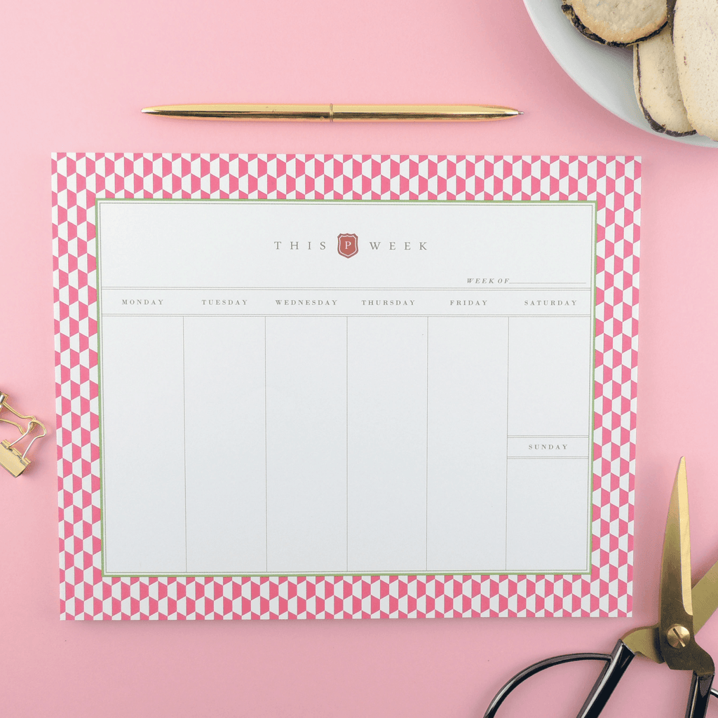 NOTEPAD, HEXAGON WEEKLY DESK PLANNER