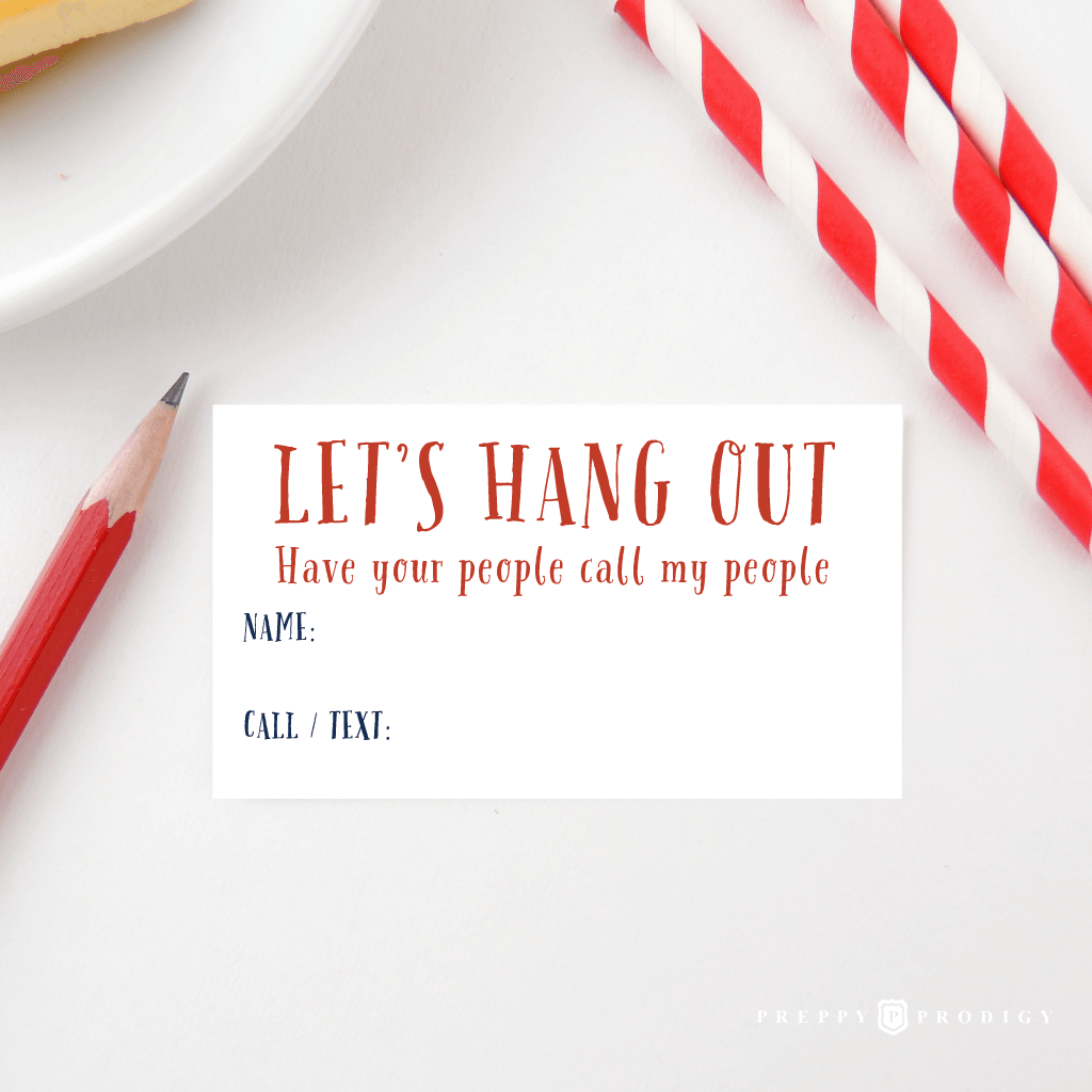 LET'S HANG OUT CALLING CARD