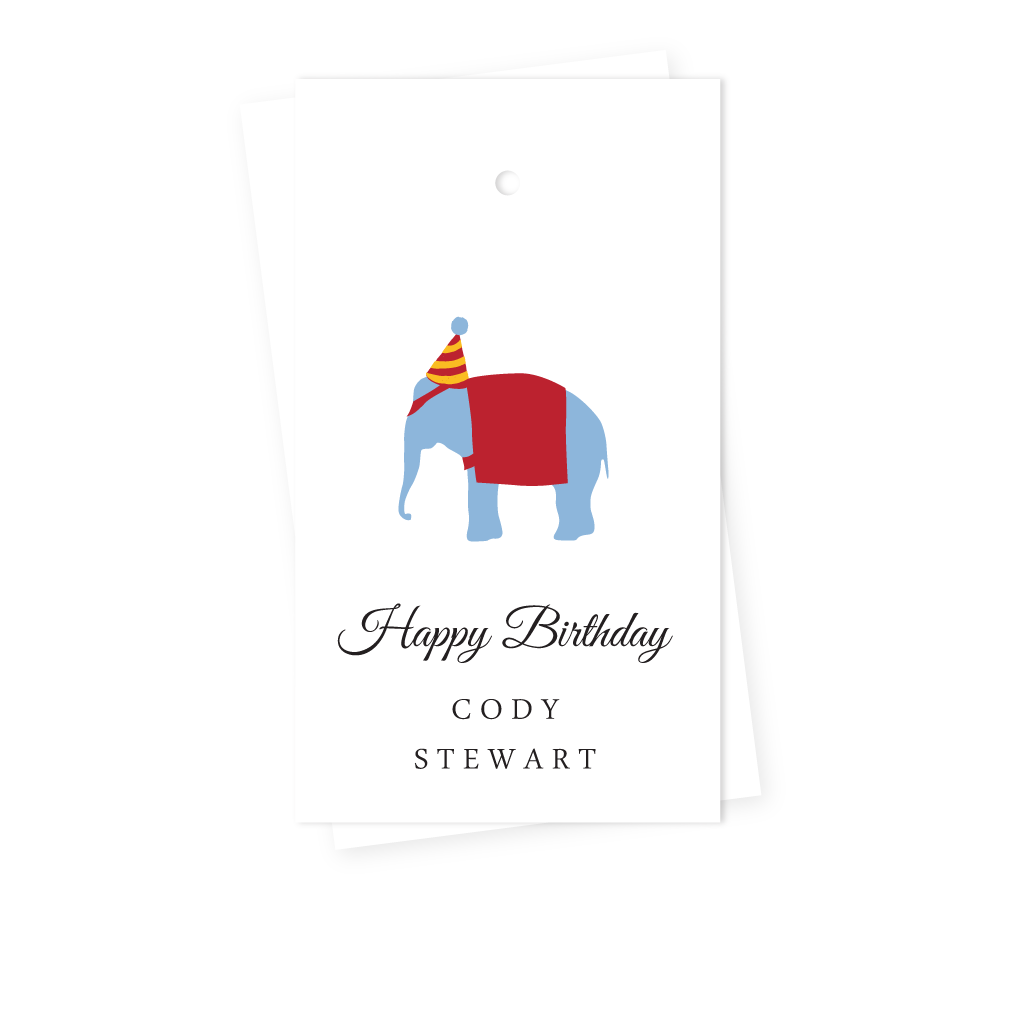 ELEPHANT BIRTHDAY GIFT TAGS