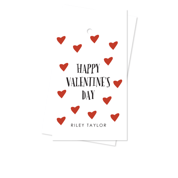 VALENTINE RED HEARTS GIFT TAGS