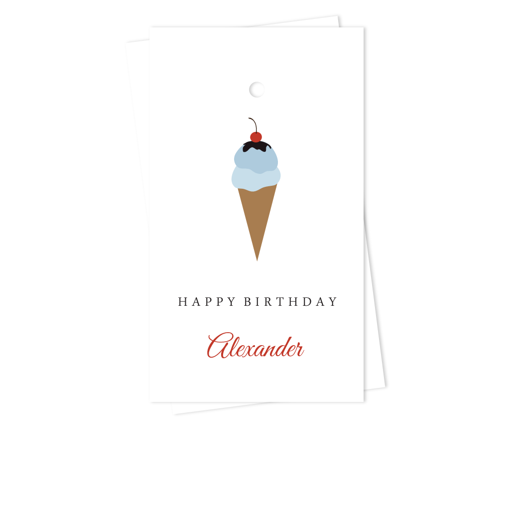 BLUE ICE CREAM CONE BIRTHDAY GIFT TAGS