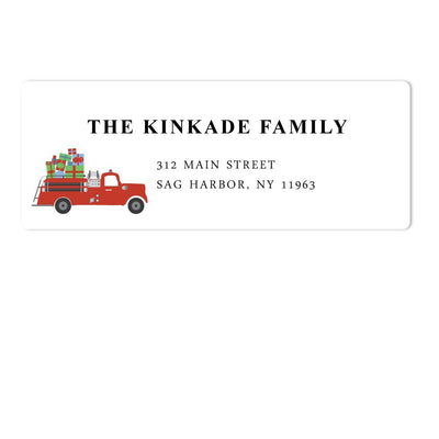 Holiday Fire Truck Address Labels