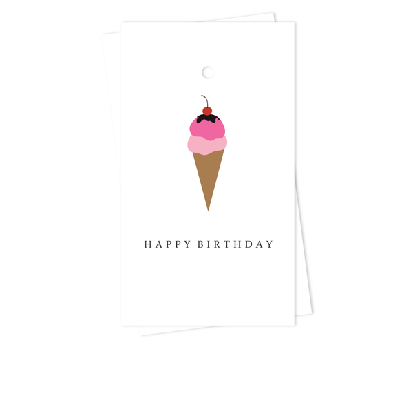 PINK ICE CREAM CONE BIRTHDAY GIFT TAGS