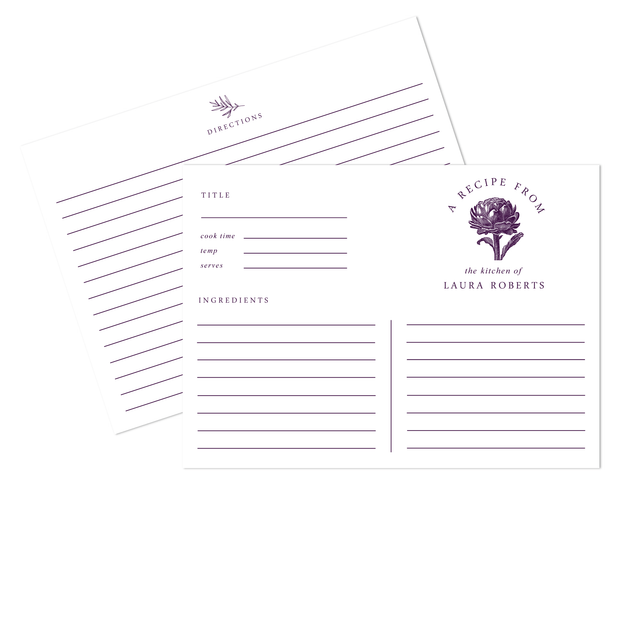 Artichoke Recipe Cards