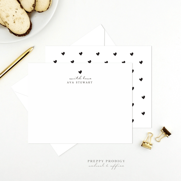 B & W Heart Stationery