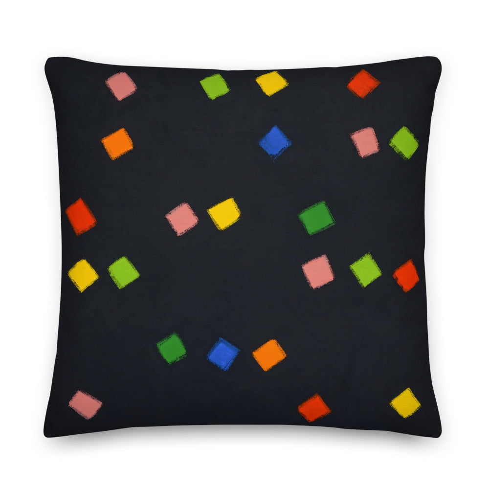 Brushstrokes on Black Pillow