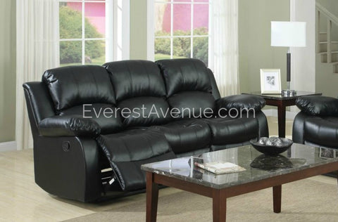 Lincoln - Double Reclining Sofa in Brown or Black Bonded Leather