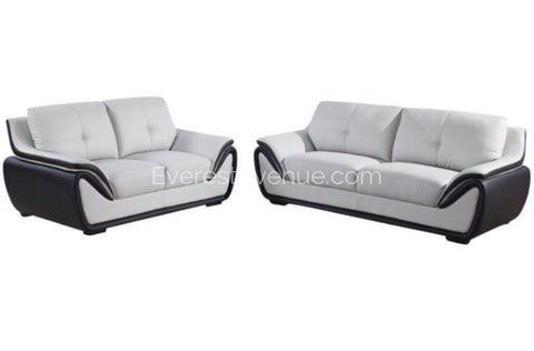 Aspen - Loveseat -  Grey and Black Bonded Leather w/ Uniquely Designed Padded Arm