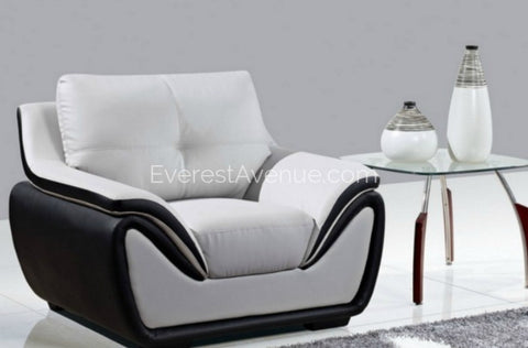 Aspen - Chair - Grey and Black Bonded Leather w/ Uniquely Designed Padded Arm -
