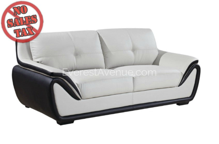 Aspen   Sofa   Grey And Black Bonded Leather W/ Uniquely Designed Padded Arm