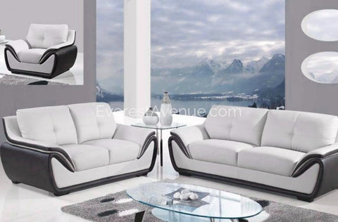 Aspen - Living Room Set - Grey and Black Bonded Leather w/ Uniquely Designed Padded Arm