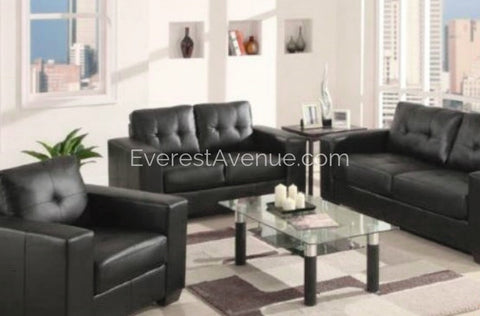 Marco - Chair - Black Bonded Leather w/ Minimalist Modern Tuxedo Styling