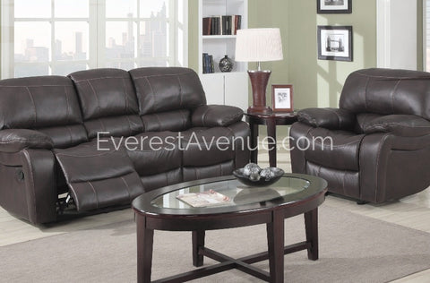 Columbus - Living Room Set - Sturdy 3 Piece Chocolate Flush Pull Sofa, Chair, Loveseat Recliner in Thick Durable Distressed Leather
