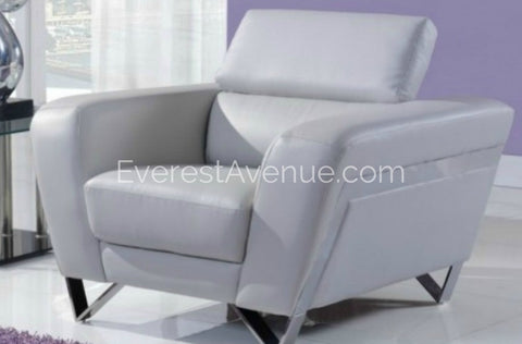 Satura - Chair - Adjustable Contemporary Style Chair w/ Adjustable Headrest in Light Grey Leather