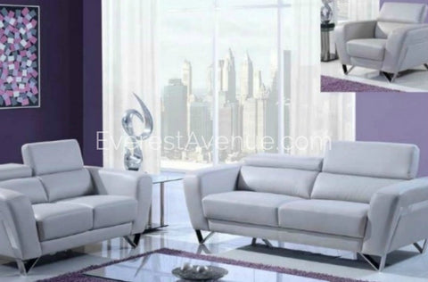 Satura - Living Room Set - Adjustable Contemporary Style w/ Adjustable Headrest in Light Grey Leather