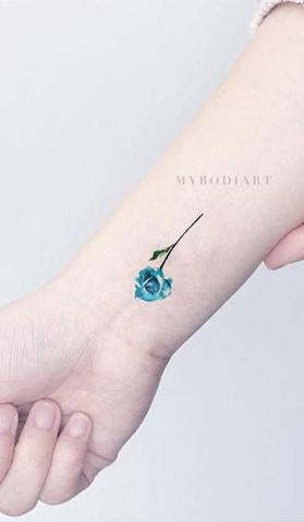 55a058271 CAROLYN SMALL WATERCOLOR REALISTIC SINGLE RED & BLUE ROSE TEMPORARY TATTOO