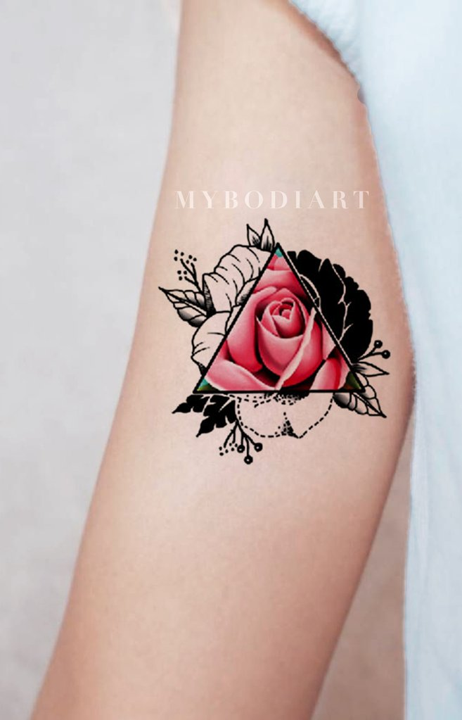 30c8ab80d44e8 BRIANNE TRENDING GEOMETRIC TRIANGLE RED ROSE TEMPORARY TATTOO · Geometric  Roses Forearm Tattoo Ideas for Women - Small Triangle Flower ...