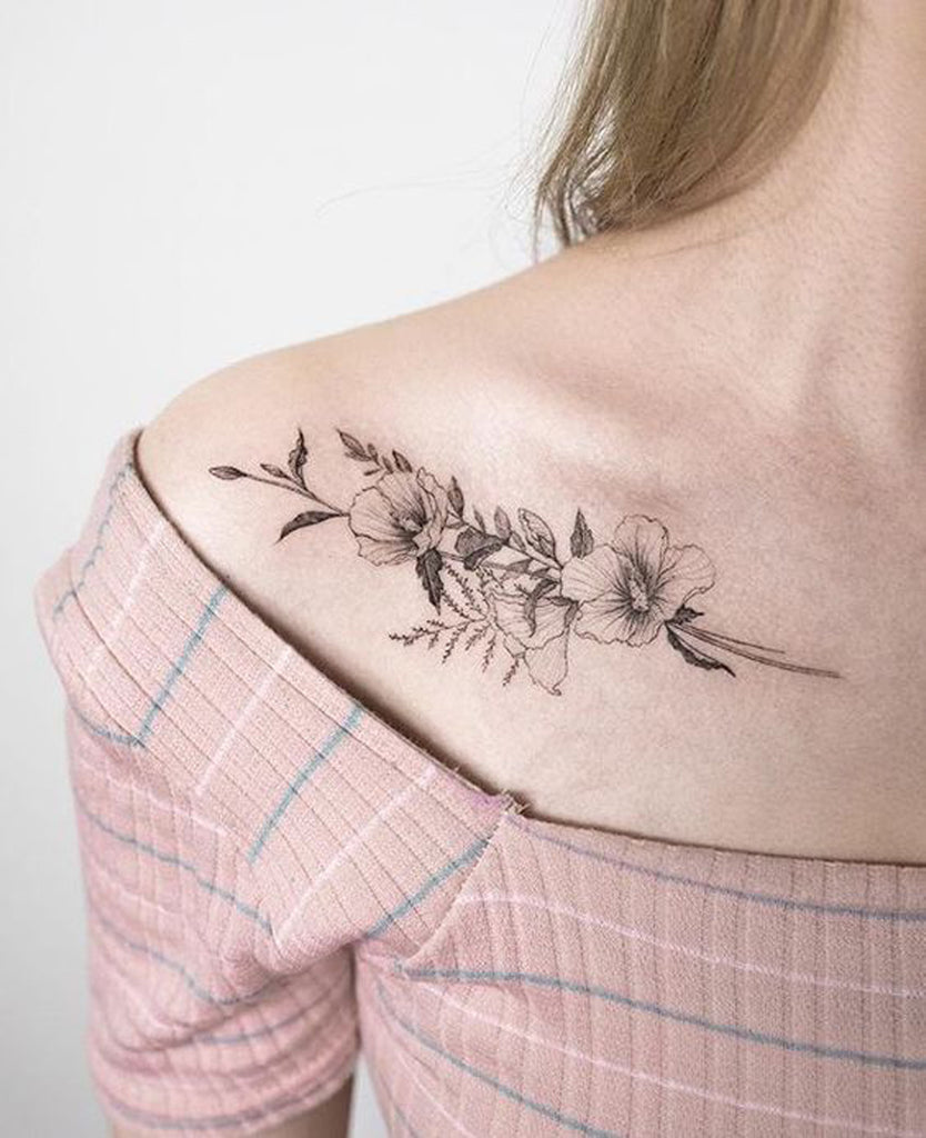 Sexy Tattoos for Women - Vintage Black Flower Shoulder Tattoo
