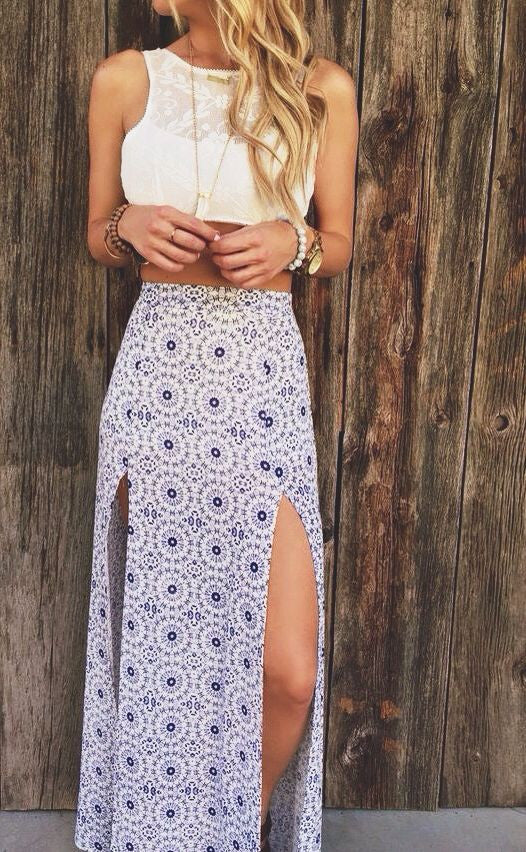 Women's Cute Summer Outfits - Maxi Skirt - White Lace Top - MyBodiArt.com