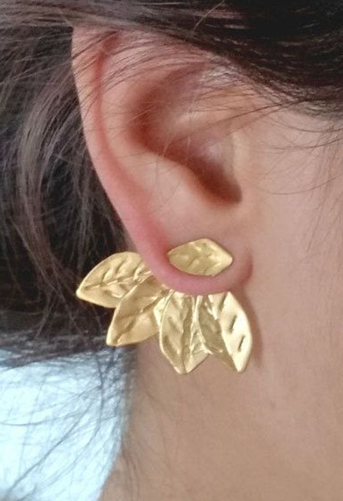Statement Earrings Gold Leaf - Ear Jacket Earring at MyBodiArt.com