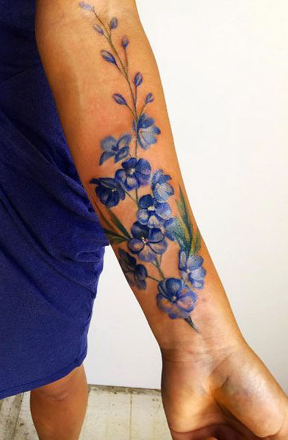 Blue Floral Flower Temporary Tattoo Wrist - MyBodiArt.com