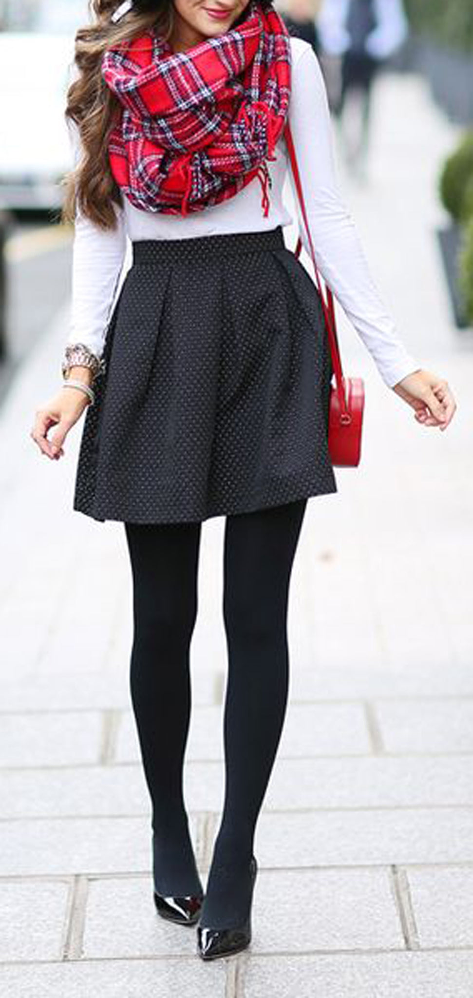 Cozy Casual  Preppy Holiday Outfit Ideas for Christmas Evening Party - Red Plaid Scarf - Black Skater Skirt - Stockings - White Crop Top - MyBodiArt.com