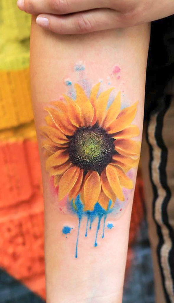 Cute Realistic Sunflower Forearm Tattoo Ideas for Women Watercolor Colorful Floral Flower Arm Tat -  acuarela girasol tatuaje del antebrazo dieas para mujeres - www.MyBodiArt.com
