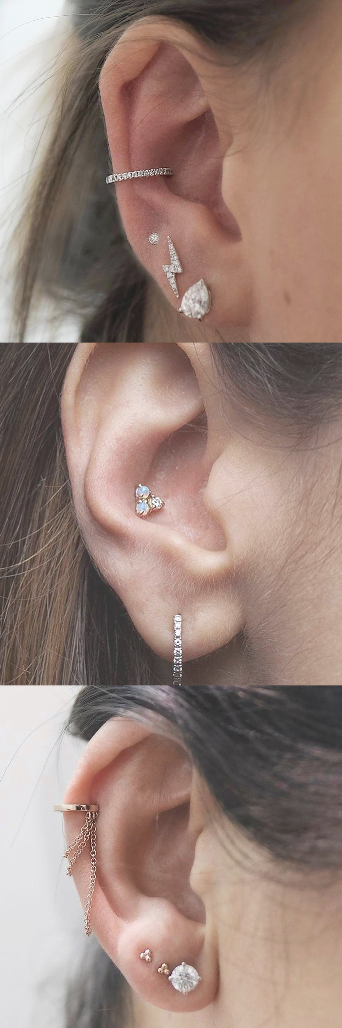 Simple Minimalistic Multiple Ear Piercing Jewelry at MyBodiArt.com - Fake Crystal Conch Ring - Flower Conch Stud - Rose Gold Cartilage Chain Earring