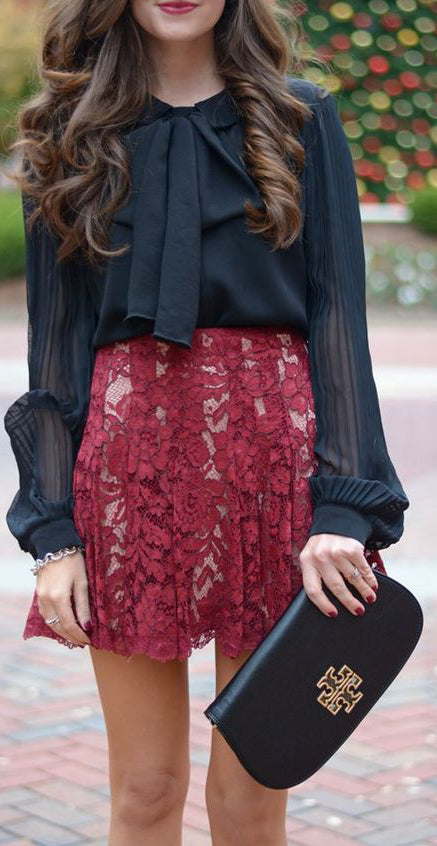 Christmas Holiday Party Outfit Ideas - Black Victorian Blouse - Red Lace Floral Skirt - Tory Burch Clutch - MyBodiArt.com