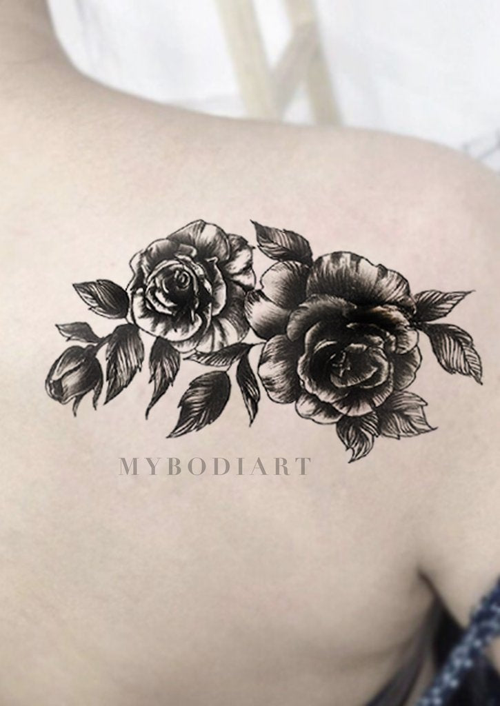 Vintage Rose Back Tattoo Ideas for Women - Cool Realistic Black Floral Flower Shoulder Tat - ideas vintage negro tatuaje rosa para las mujeres - www.MyBodiArt.com #tattoos