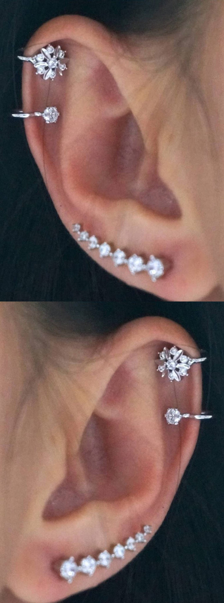 Classy Ear Piercing Ideas at MyBodiArt.com - Double Cartilage Helix Ring - Crystal Ear Climber Earring